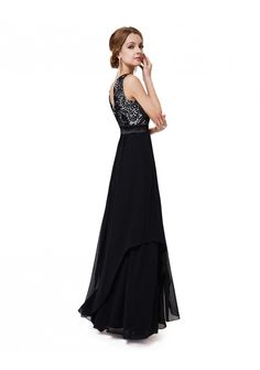 Langes elegantes Abendkleid mit stilvollen Charme in Schwarz - günstig bei VIP Dress