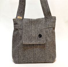 Amy  Tweed Herringbone Wool and Alpaca  Black and White . French Shoulder Bag. $129.74, via Etsy.