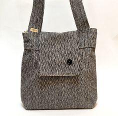 Amy  Tweed Herringbone Wool and Alpaca  Black and White . French Shoulder Bag. $129.74, via Etsy.