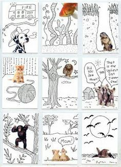 ATCs with magazine cut outs and Line Art - Art Projects for Kids. Would be a good line art lesson teaching art element of various lines. Middle School Art, Art School, High School, Classe D'art, Art Trading Cards, Art Carte, 5th Grade Art, Ecole Art, School Art Projects