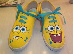Zapatillas de Bob esponja pintadas a mano | Feria Central