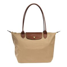 Longchamp Le Pliage Medium Shoulder Tote Monogramming Available ($125) ❤ liked on Polyvore featuring bags, handbags, tote bags, beige, zippered tote bag, over the shoulder tote bag, white leather tote, leather tote handbags and monogrammed leather tote