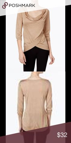 INC time to shine top! Knit golden top with draped neck, tulip bottom. Stunning to wear anywhere. Fine, light knit right for any season. Sz S NWT INC International Concepts Tops
