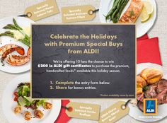 Enter for a chance to win $200 in ALDI gift certificates!  Enter here http://woobox.com/hxxw2q/gdk37c