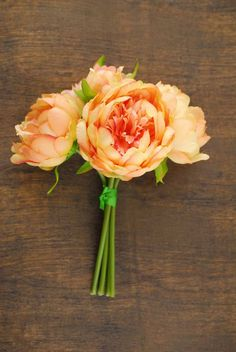Peony Bouquet Coral 9.5in