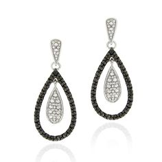 Make a great first impression with these stunning diamond accent earrings. The earrings get a bold look from the black stones on the outside of the teardrops, while a silver background creates the twinkling look of pure white diamonds.