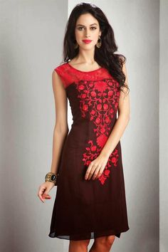 Wine And Red Color Designer Party Wear Kurti