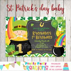 1st Birthday Invitations, Party Invitations, Spa Sleepover Party, Baby First Birthday, Perfect Party, St Patricks Day, First Birthdays, Party Supplies, Etsy Shop