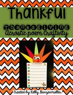 Students will love writing their own acrostic poem about what they are thankful… Thanksgiving Bulletin Boards, Thanksgiving Writing, Thanksgiving Crafts, Turkey Poem, Hallway Displays, Second Grade, Literacy, Poems, Students