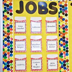 Creating jobs especially for elementary students is so helpful. It gives you as teacher a managed and easy running classroom. For students to all have a turn, rotate students weekly. Classroom Decor Themes, Classroom Jobs, Classroom Organisation, Classroom Management, Class Management, Preschool Job Chart, Preschool Jobs, Kindergarten, Teaching Time