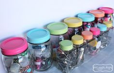Painted Mason Jar Lids - so pretty for a kids room or craft room!