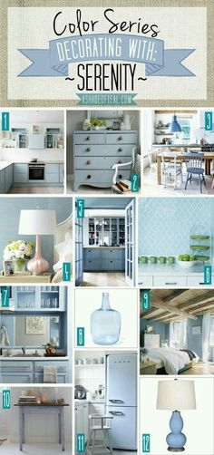 home decor blue Color Series; Decorating with Serenity, pale blue, light blue, gray blue home dcor. Pantone color of the year 2016
