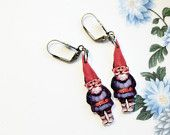 Garden gnomes vintage kitsch hanging earrings