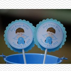 Kneeling Angel Boy Baptism Christening First Holy Communion Cupcake Toppers