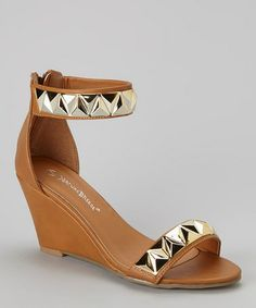 $18.99 (This Event ends in 2 - Days, 23 hours) Camel Studded Denver Wedge Sandal http://www.zulily.com/?SSAID=930758&tid=acceleration_930758 #zulily #zulilyfinds