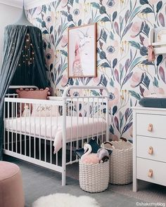 Moody Floral Self-Adhesive Wallpaper - Project Nursery Self Adhesive Wallpaper, Peel And Stick Wallpaper, Girl Nursery, Nursery Decor, Wall Decor, Nursery Room, Floral Nursery, Nursery Ideas, Floral Bedroom