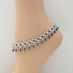 Gunmetal beaded chainmaille anklet
