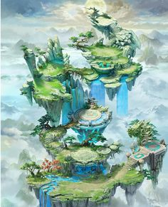 floating island realm of waiting souls. Full of graveyard, tomb, catacomb, and funeral imagery Fantasy City, Fantasy Map, Fantasy Places, Fantasy World, Fantasy Concept Art, Fantasy Artwork, Fantasy Landscape, Landscape Art, Game Art