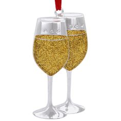 Pair Of White Wine Glasses Metal Ornament With Crystals $12.99