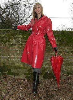 Red PVC Raincoat & Black Rubber Boots