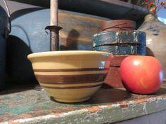 "Ebay: 5"" brown banded yellow ware bowl."