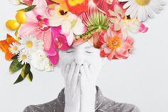 Collage: retrato florido