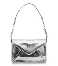 Tory Burch Large Metallic Leather Envelope Clutch - silver