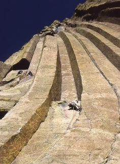 Devil's Tower, Wyoming. This is a view straight up from the bottom of the pillar. You know this place, Close encounters of the third kind,
