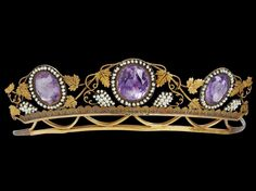 18k gold diadem. Louis Sturm, Stockholm c1816 , three oval faceted amethysts in garland of small oriental pearls, decoration of vine leaves and grape bunches in small oriental pearls , length 15,5 cm