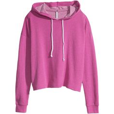 H&M Short hooded top ($12) ❤ liked on Polyvore featuring tops, hoodies, sweaters, jackets, cerise, pink hoodie, balmain h&m hoodie, short tops, hooded sweatshirt and hooded hoodie
