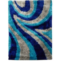DonnieAnn Hand-tufted Flash Shaggy-654 Abstract Wave Blue Shag Rug
