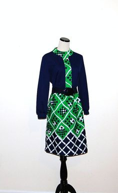 Vintage Dress Blue with Green by CheekyVintageCloset on Etsy, $32.00