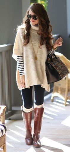 cozy outfit idea / poncho + bag + top + jeans + high boots