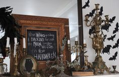 FRENCH COUNTRY COTTAGE: Chalkboard for the mantel ~ Halloween Fun