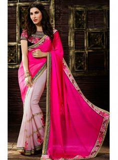 #Pink Shaded #PartyWear #Saree Features georgette saree with embroidered border and stone work with raw silk embroidered blouse.