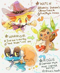 Pokemon Gen VI Starters drawn as Traditional RPG Classes