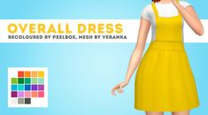 """pxelbox:  """" Veranka's Overall Dress recoloured by PXELBOX """"One of my favourite CC dresses recoloured in my vibrancy palette!  """"  INFO & DOWNLOAD UNDER THE CUT  Keep reading  """""""