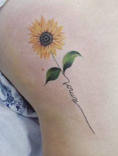Small Symbol Tattoos, Small Flower Tattoos, Small Tattoos For Guys, Small Wrist Tattoos, Cute Small Tattoos, Tattoos For Daughters, Unique Tattoos, Tattoo Small, Colorful Sunflower Tattoo