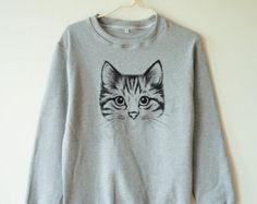 Funny cute cat tshirt kitten tshirt animal tshirt funny cat sweater jumper sweater tee shirt long sleeve shirt women tee shirt men tee shirt