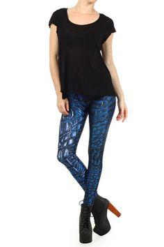Blue Dragon Skin Leggings | POPRAGEOUS