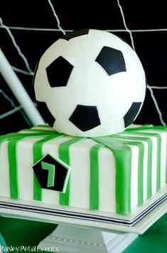 soccer cake Soccer Birthday Parties, Soccer Party, Sports Party, Football Birthday, Birthday Cakes, Birthday Ideas, Torta Angel, Soccer Ball Cake, Soccer Cakes