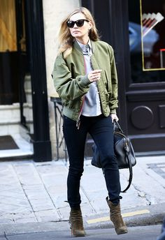 10 Fresh Style Tips You Have to Try This Month via @WhoWhatWear On Moss:Rag & Bone/JEANHigh-Rise Skinny Jeans($185); Louis Vuitton bag; Alaia boots