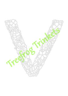 CYO Papercut Template Letter V by TreefrogsTrinkets on Etsy
