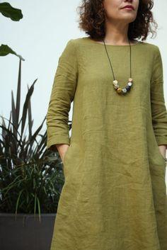 Bella Dress Pattern in Moss Wainscot 100% linen #belladress