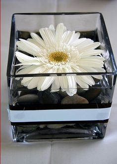 Black and white wedding like this idea but with black rocks and a white ribbon or no ribbon at all