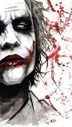 Joker - OK so not part of the Marvel universe, but I don't care. I always loved the Joker. Der Joker, Heath Ledger Joker, Joker Art, Joker Batman, Batman Robin, Spiderman, Character Drawing, Comic Character, Comic Books Art