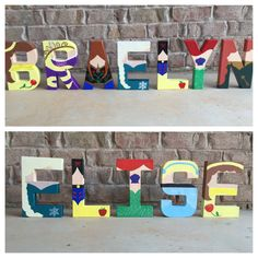 Disney princess letters by LeeseyAnnLetters on Etsy Disney Princess Letter, Disney Letters, Disney Diy, Disney Crafts, Baby Disney, Painted Letters, Wood Letters, Baby Shower Princess, Princess Room