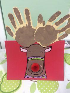 Twinkl Christmas Handprint reindeer card
