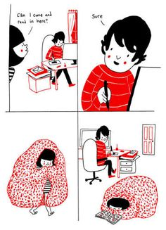 """Philippa Rice, a popular illustrator and webcomic artist, is the author of the romantic graphic novel Soppy. The graphic novel is mostly autobiographical and tells the story of Rice's relationship with her boyfriend. But what makes Soppy unique is that it shows romance and true love through the mundane, everyday moments of the couple's relationship rather than """"big"""" moments or gestures of romance. It's real life love, rather than the Hollywood rom-com stuff we're so used to."""