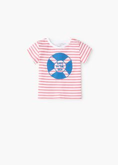T-shirt riscas estampada -  Criança   OUTLET Portugal